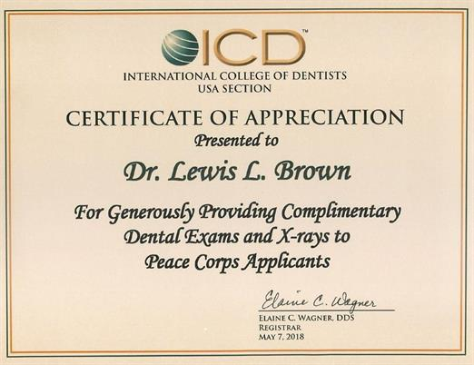 International College of Dentists USA Selection presented to Dr. Lewis L. Brown